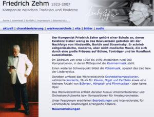 Friedrich Zehm Komponist Homepage und Werkverzeichnis
